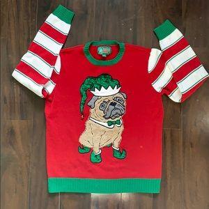 🎄Men's Elf Pug Ugly Christmas Sweater